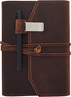 Refillable Leather Journal Writing Notebook - Lay Flat Blank Notepad 100 Sheets, Handmade Leather Bound Diary with Inner Pockets, Pen & Pen Holder, 100gsm Thick Paper, A5 Size