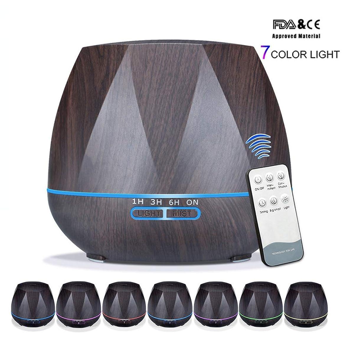 検出付き添い人素子アロマセラピーエッセンシャルオイルアロマディフューザーリモートコントロール7色LEDライトホームエアアロマディフューザー加湿器550ML,Black,Remote
