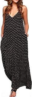 Women V-Neck Polka Dot Print Spaghetti Strap Boho Long Maxi Dresses