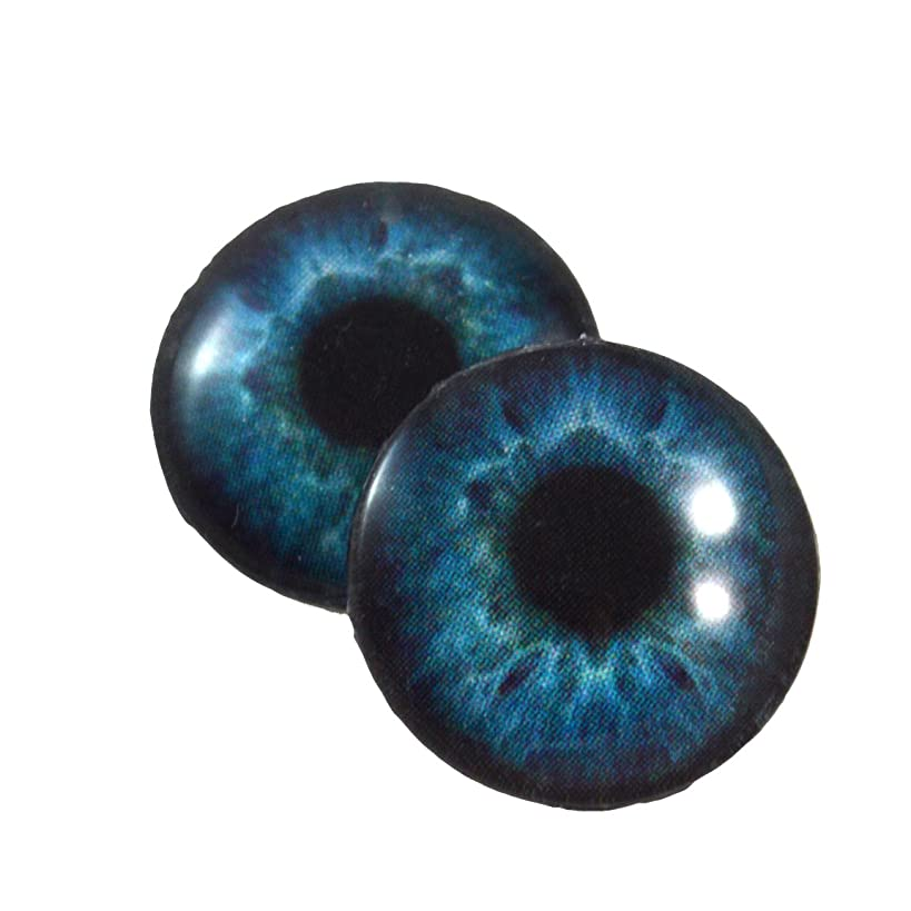 16mm Deep Blue Glass Eyes Cabochons for Fantasy Art Doll Taxidermy Sculptures or Jewelry Making Crafts Set of 2