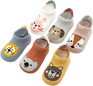 Sponsored Ad - Pro1rise 6 Pairs Baby Non Slip Grip Cotton Animal Ankle Socks with Non Skid Soles for Newborn Toddler Boy G...