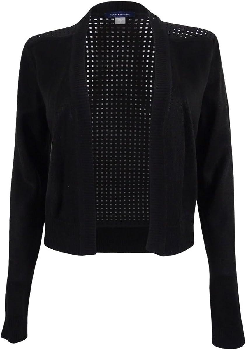 Tommy Hilfiger Perforated Shrug Cardigan Sweater Jacket Black XL