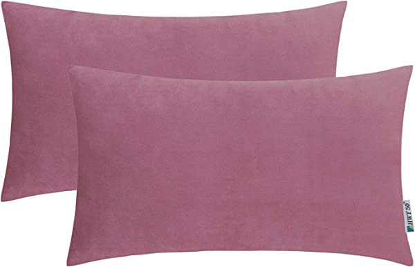 HWY 50 Velvet Soft Soild Decorative Throw Pillows Covers Set Cushion Cases For Couch Sofa Living Room Rectangular 12 X 20 Inch Mauve Pink Pack Of 2