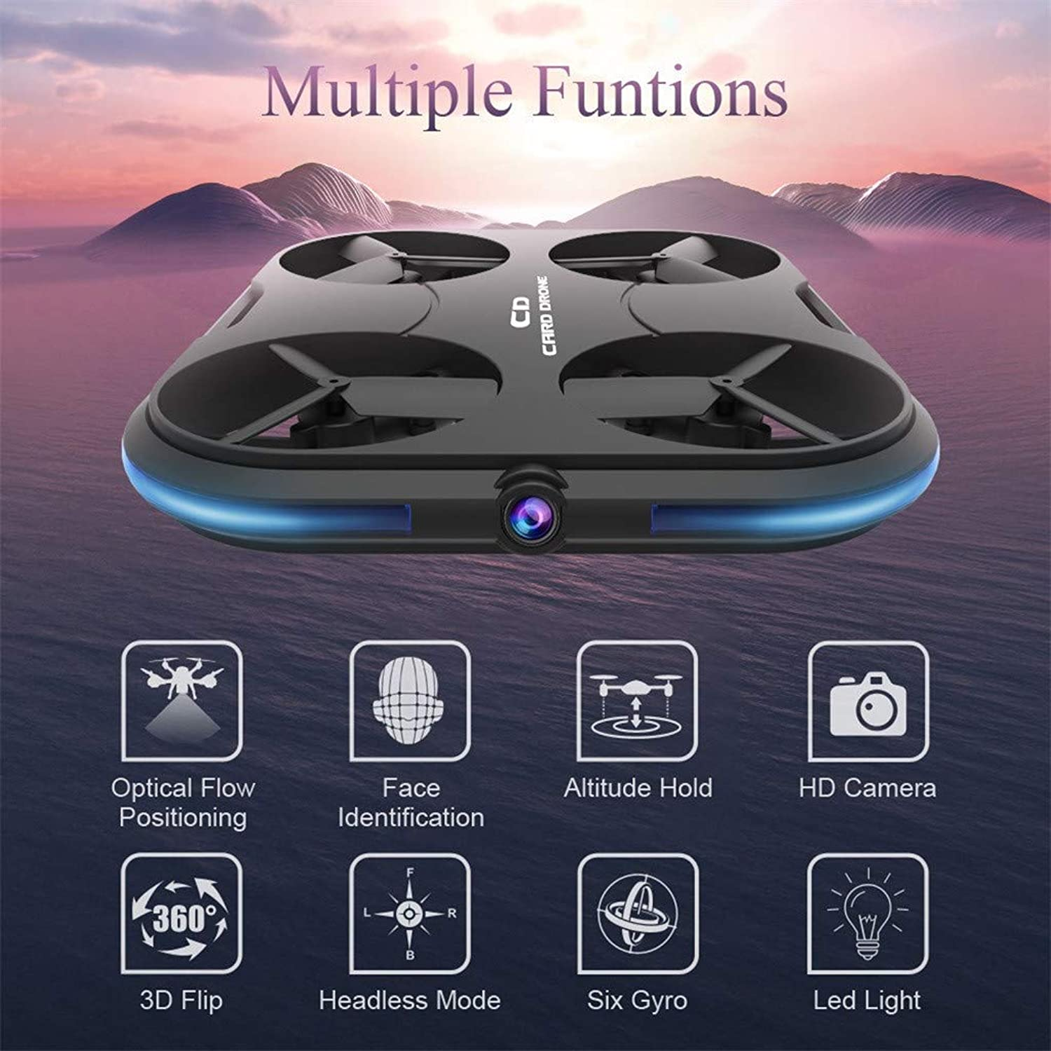 RC Drone for Boys Girls,WiFi FPV Live Video 720P HD Camera Drone with Follow Me,Face Recognition,Optical Flow Positioning,2.4G 6 Axis Micro Remote Control Mini Lightweight Quadcopter for Kids