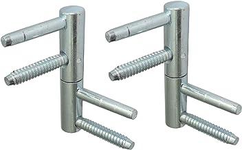 Aerzetix C42773 schroefstekker, scharnier, verstelbaar, 3D, voor deur, Ø 14 x 80 mm, messing, 2 stuks