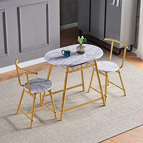 QIHANG-UK 3-Piece Small Dining Table Set for Indoor Outdoor, Wood Kitchen Table with 2 Dinner Chairs for Living Room Garden Backyard Tea-time, Marble Look Oval Dinette Set with Metal Legs (Gold)