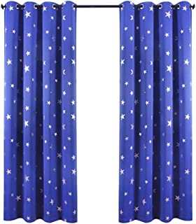 Anjee Occhiello Blackout Silver cortinas de estrella 2 paneles cortinas de aislamiento térmico 46 x 72 pulgadas para niñas/cuarto de niños Crear una habitación de ensueño azul real
