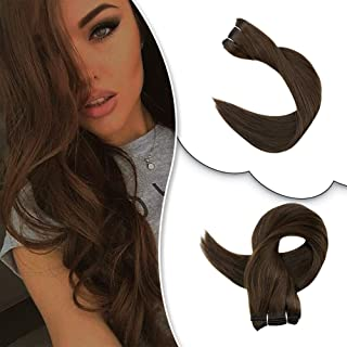 RUNATURE Double Weft Human Hair Extensions 100% Real Remy Thick True Full Head 1 Pieces 100 Gram Straight Silky 12