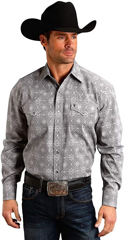 Stetson Western Shirt Mens Medallion L/S Snap Gray 11-001-0425-0646 GY