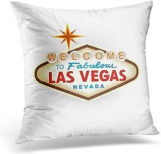 Throw Pillow Cover White Fabolous Classic Retro Welcome to Las Vegas Sign Advertisement Decorative Pillow Case Home Decor Square 18