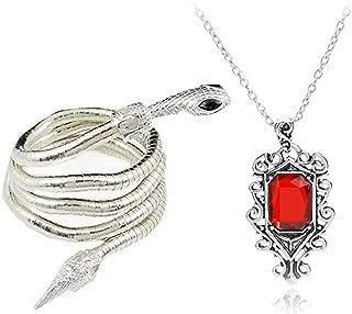2 Pcs City of Bones Isabelle Lightwood's Electrum Whip Serpent Snake Bracelet and Necklace Set with Storage Box