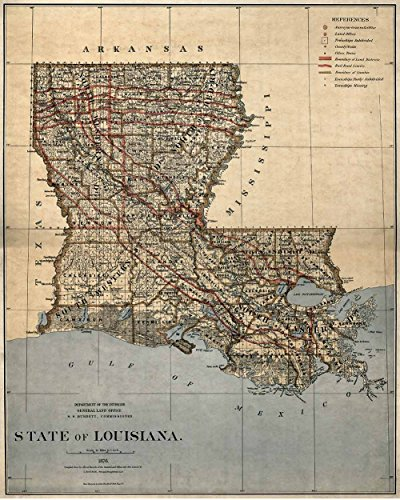 Antiguos Maps - Louisiana State Map Circa 1876 - Measures 24 in x 30 in (610 mm x 762 mm)