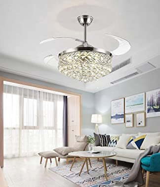 """42"""" Crystal Fandelier Ceiling Fan Luxury Retractable Blade Ceiling Fan with Lights and Remote Modern Indoor LED Chandelie"""