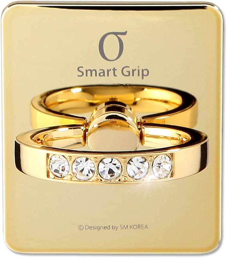 Cell Phone Ring Holder & Grip with Luxury Oktant Crystal Universal Kickstand Compatible with All Major Smartphones   Charlotte (Gold - Crystal)