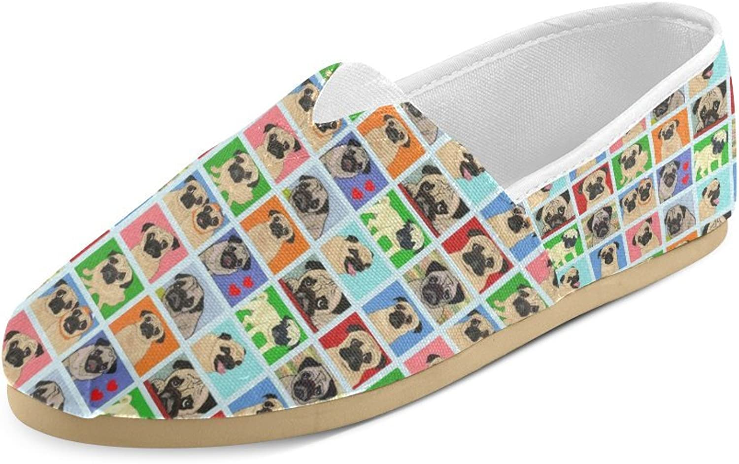 HUANGDAISY Unisex shoes Cartoon Pugs Background Casual Canvas Loafers for Bia Kids Girl Or Men