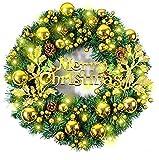 Ghirlande Natalizie Porta con Luci, Morbuy Artificiale Rattan 40cm con 50 LED Illuminata a Batteria Natale Decorazione con Palla Pigna Foglia di Albero per Porta Esterno Camino (40cm,Oro)
