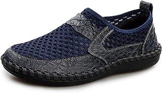 DADIJIER Moda de Verano de Malla Transpirable Zapatos Casuales para Hombres Mocasines Antideslizantes Planos Ligeros Dos T...