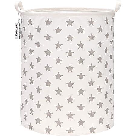 Sea Team 19,7 pouces de grande taille Revêtement imperméable en tissu de coton Ramie Panier à linge pliant Seau Panier de rangement en toile de jute cylindrique avec un design élégant d'étoiles grises