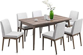 Giantex 7 Pcs Dining Table and Chairs Kitchen Dining Room Table Set with Wood Legs and Upholstered Seat (7 pcs Set)