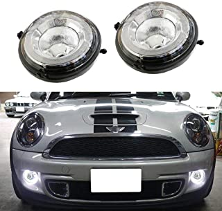 iJDMTOY Xenon White LED Daytime Running Lights Fog Lamps Assy For MINI Cooper R55 R56 R57 R59 R60 R61 etc. Halo Style LED DRLs Powered by (30) High Power LED Lights