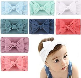 AMERTEER Baby Girls Headband, 8PCS Stretchy Nylon Soft Headband with Bowknot Cute Princess hairband Hair Accessories for B...