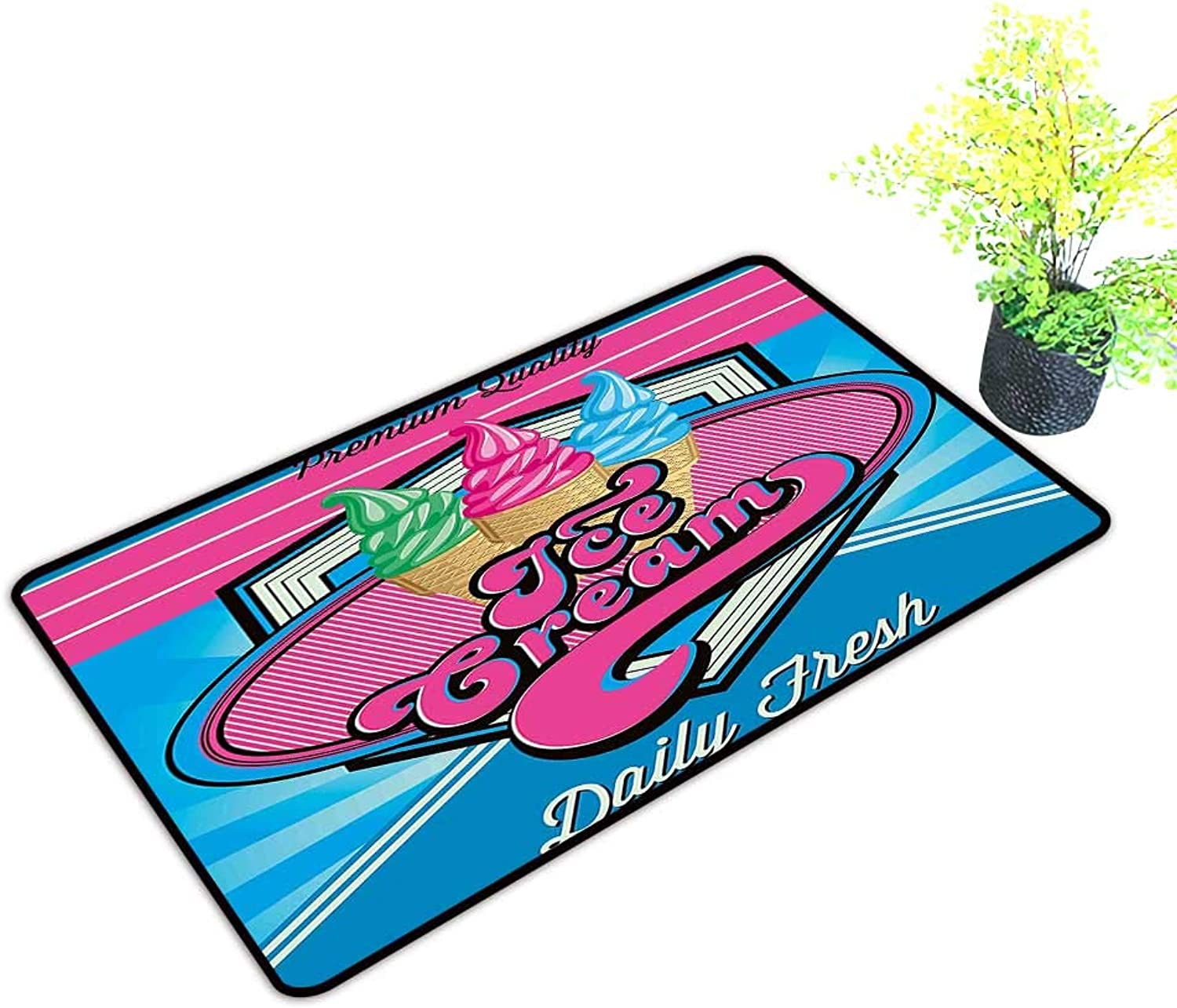 Gmnalahome Front Welcome Entrance Door Mats Background with Ice Cream Illustration for Home Print bluee and Hot Pink Home Decor Rug Mats W39 x H19 INCH