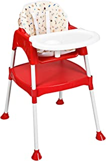 Costzon Convertible High Chair, 4 in 1 Table and Chair Set, Snacker High Chair Seat, Toddler Booster Furniture, Baby Feeding with Tray & Cup Holder (Red)