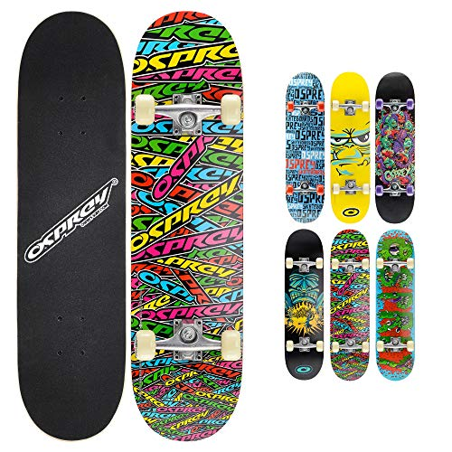 Osprey Absolute Anfänger Double Kick Trick Skateboard, 78,7 x 20,3 cm, Ahorndeck