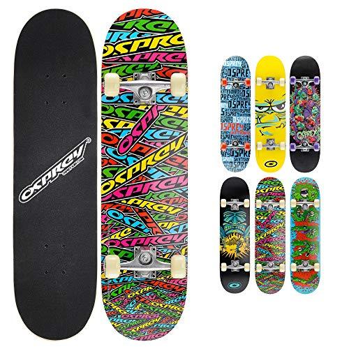 Osprey Skateboard Double Kick 31 pollici per principianti e aspiranti skater – Tavola in legno d'acero- Adatto per bambini e ragazzi fino a 50 kg – Disponibile in disegni e colori diversi