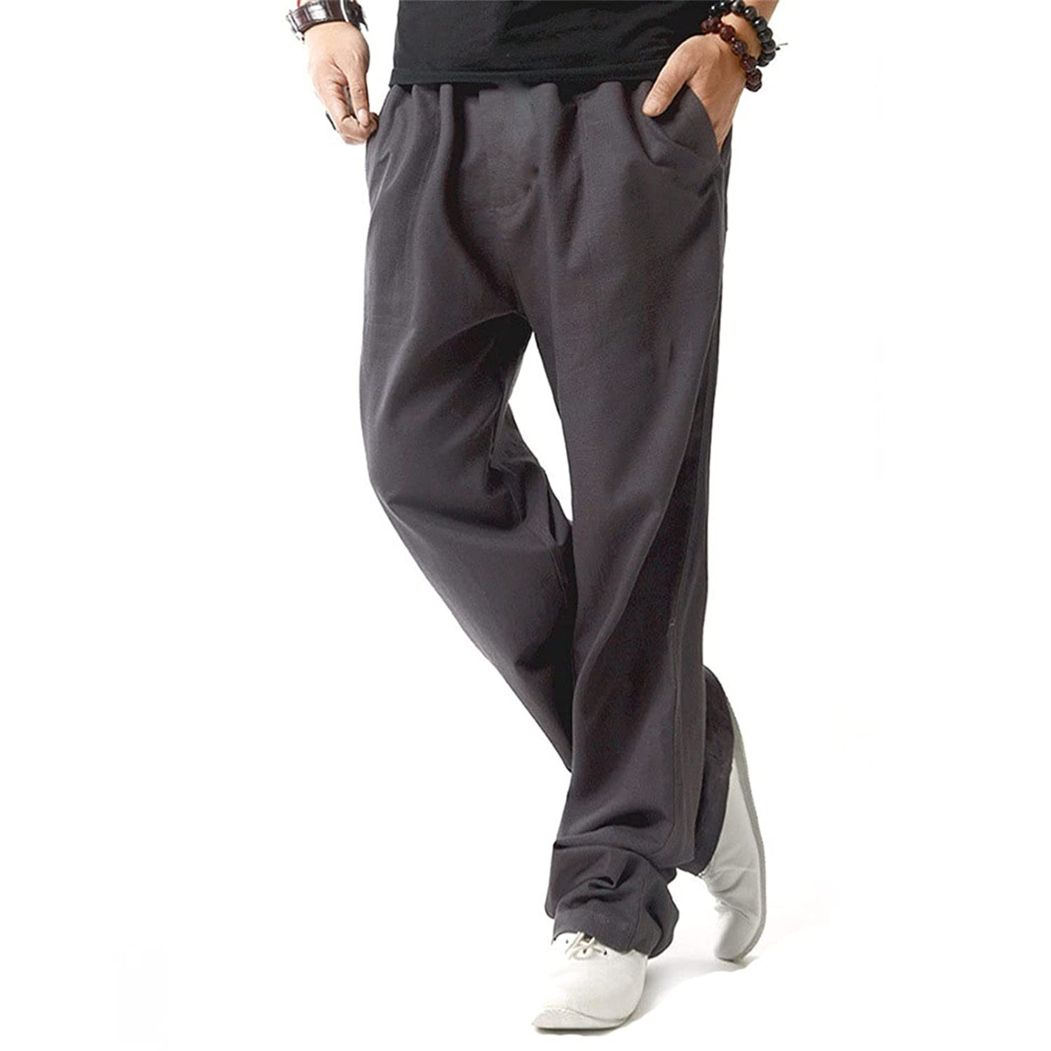 Men's Drawstring Casual Summer Beach Loose Trousers Linen Pants with Elastic Waistband Sweatpants Joggers (XX-Large,Gray)