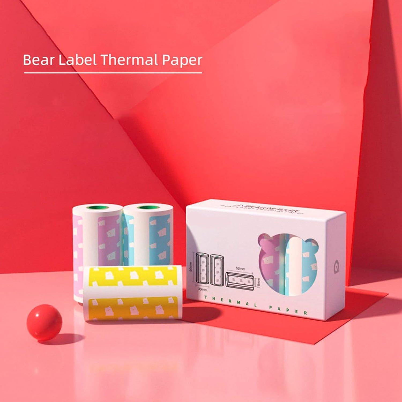 3 rollos de papel de impresi/ón de colores autoadhesivo para impresi/ón de fotos de recibos etiqueta adhesiva Elibeauty Mini rollo de papel t/érmico 57 x 30 mm
