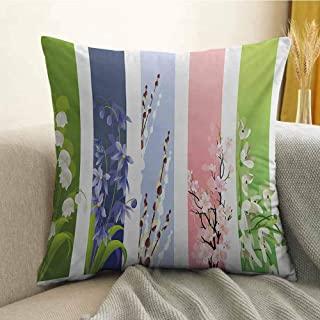 Antony Petty Flower Microfiber Spring Flowers on Different Backgrounds Lily Blossoms Valley Primrose Floral Print Sofa Cushion Cover Bedroom car Decoration W16 x L24 Inch Multicolor