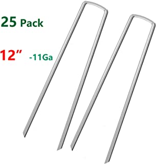 AAGUT 12 Inch Garden Securing Stakes/Spikes/Pins/Pegs 11 Gauge Galvanized Steel, Anchoring Landscaping, Weed Barrier Fabric, Ground Cover Pack of 25