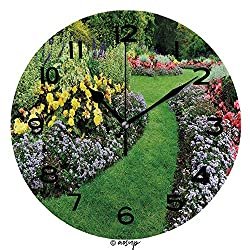 ALUONI Round Wall Clock Colourful Flowerbeds and Winding Grass Pathway in an Attractive English Formal Garden 10 inch Morden Wall Clocks Silent Round Decorative Clock SW123893