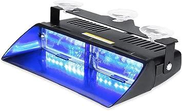 WOWTOU Emergency Strobe Dash Light 16W Bright Blue LED with 18 Flash Patterns for Volunteer Firefighter EMT EMS POV Police Hazard Warning Cars