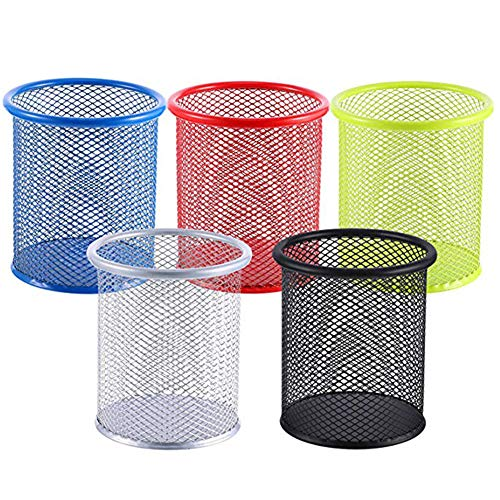 5 PCS Mesh Metal Pen Holder Pencil Organizer Round Shaped Wired Mesh Design Durable Metal for Home Desk Office and School