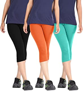 ROOLIUMS Woman Cotton Capri Combo (Brand Factory Outlet) Pack of 3 (Black, Orange and Turquoise) - Free Size