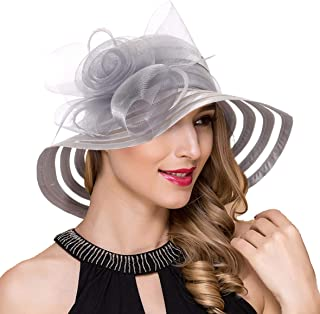 Ruphedy Womens Satin Kentucky Derby Church Wedding Sun Hats Fascinator Wide Brim Tea Party Bucket Hat