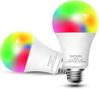 Smart Light Bulb, Lomota Dimmable A19 E26 WiFi LED Light Bulb, Compatible with Alexa and Google Assistant, 16 Million Colors, 2700K-6500K RGB, 810 Lumens 60W Equivalent, No Hub Needed - 2 Pack