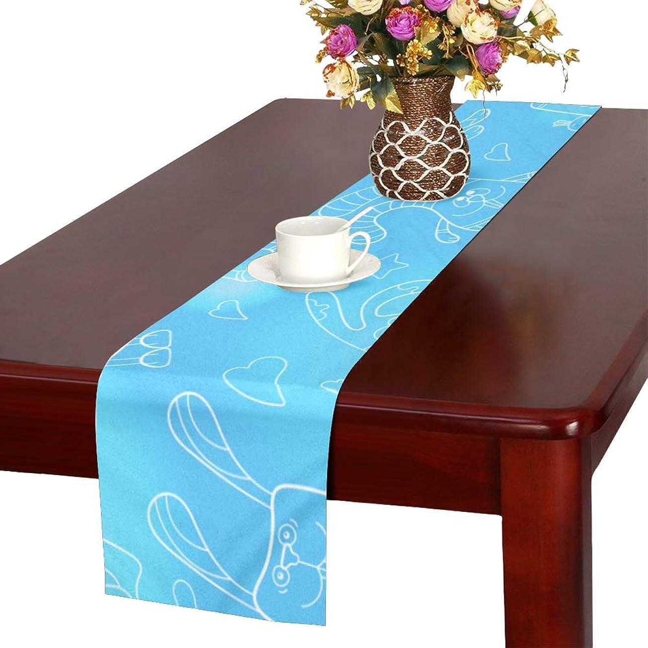 テレマコス配分紳士気取りの、きざなGGSXD テーブルランナー 小柄 ブルーうさぎ クロス 食卓カバー 麻綿製 欧米 おしゃれ 16 Inch X 72 Inch (40cm X 182cm) キッチン ダイニング ホーム デコレーション モダン リビング 洗える