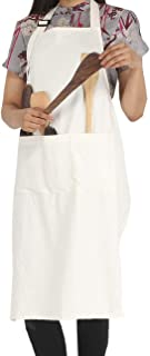 RAJRANG BRINGING RAJASTHAN TO YOU BBQ Cooking Apron - 100% Cotton Aprons with Adjustable Neck and Pockets for Restaurant - 35 x 27 Inch Off White,