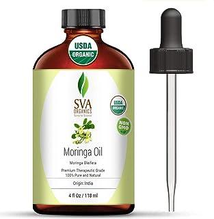 SVA Organics Moringa Oil 4 Oz Organic 100% Pure & Natural Carrier Oil Authentic & Premium Therapeutic Grade Oil for Skin C...