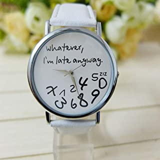 Hot Women Leather Watch Whatever I am Late Anyway Letter Watches White