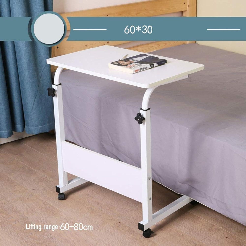 Tilting Overbed Table,Bedside Computer Table,Writing Desk Stand Laptop Computer Desk Cart Mobile Stopper Ledge Height-Adjustable -l 30x60cm(12x24inch)