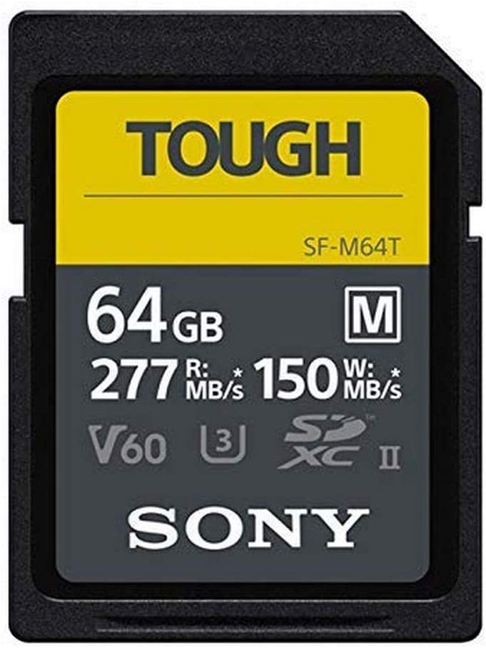 Sony TOUGH-M series SDXC UHS-II Card 64GB, V60, CL10, U3, Max R277MB/S, W150MB/S (SF-M64T/T1)
