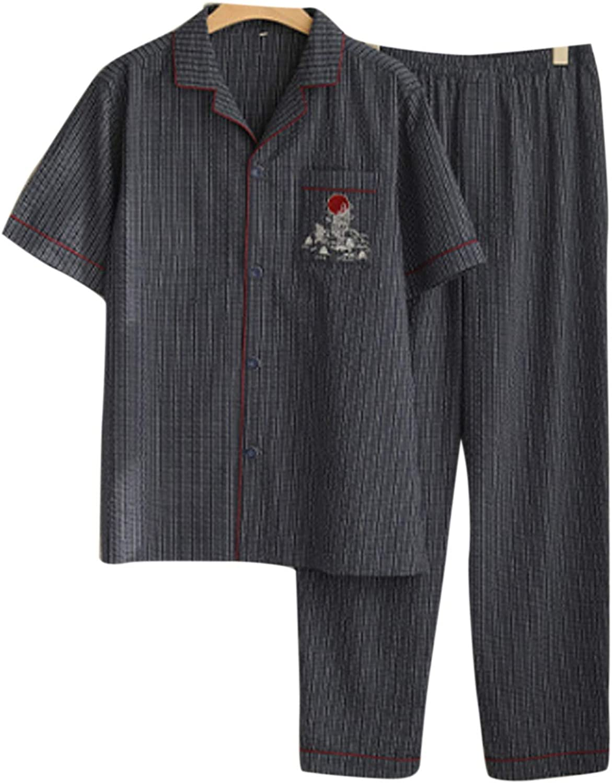 Men'S Sleeve Cotton Shirt And Pants Pajamas Pjs Sleepwear Lounge Set Navy Blue L