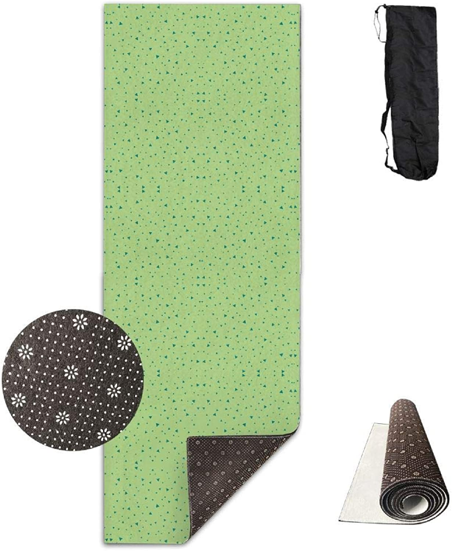 70Inch Long 28Inch Wide Comfort Velvet Yoga Mat, Boho Dancing Triangles Green Wallpaper (2599) Mat Carrying Strap & Bag