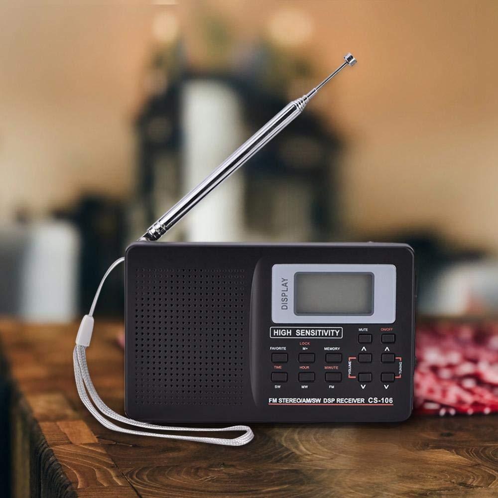 Banda Completa Am/SW/LW/TV/FM Radio Sonido Completo del Receptor Recepción de frecuencia de Radio FM con Tiempos de Radio Reloj Despertador portátil Negro: Amazon.es: Deportes y aire libre