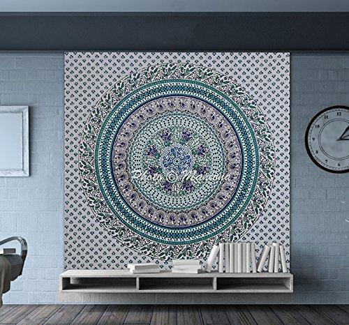 Maniona Crafts Style Mandala hippie Décoration murale à suspendre – Éléphant, Dancing Paon Tapisserie murale tapisseries Bohème indien Cadeau de Noël Décoration de Dortoir Décoration murale