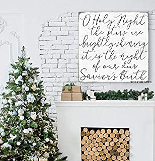CELYCASY O Holy Night Sign Christmas Decor O Holy Night The Stars Savior's Birth Christmas Sign Extra Large Canvas Print Hand Lettered Distressed Art